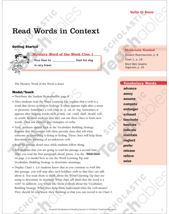 Verbs to Know Read Words in Context Printable Lesson Plans, Ideas