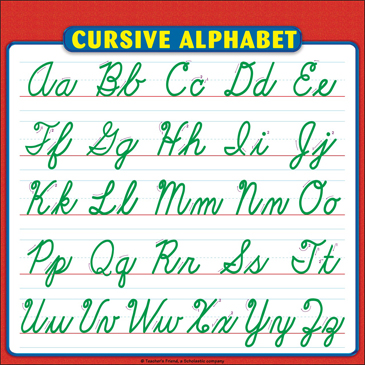 Cursive Alphabet Sheet Reference Page for Students Printable