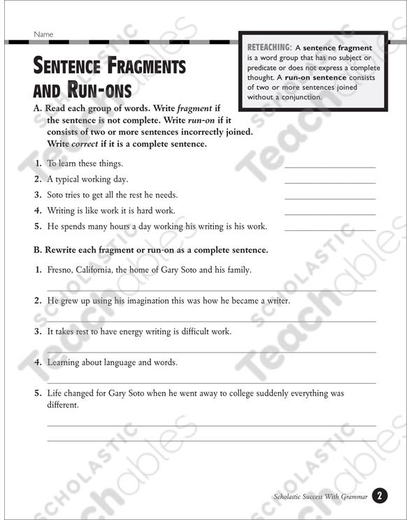 Sentence Fragments and Run-Ons (Grades 5-6) Printable Test Prep