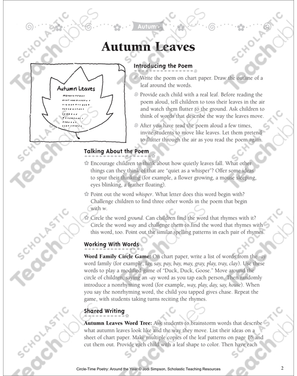 Autumn Leaves Poem and Activities Printable Lesson Plans, Ideas