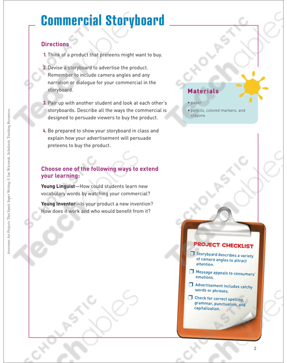 Commercial Storyboard Art and Writing Project Printable Lesson