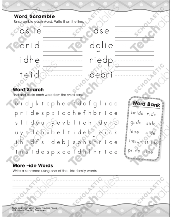 The -ide Word Family Practice Page Printable Cut, Pastes and