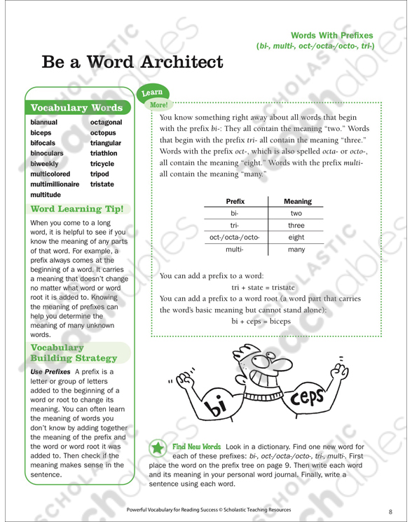 Words With Prefixes Be a Word Architect Printable Lesson Plans - tri words