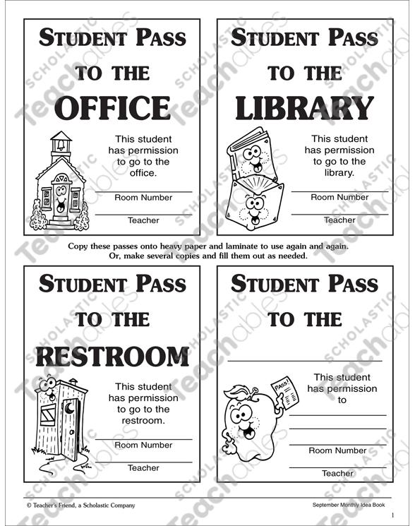 Student Hall Passes Printable Student Passes