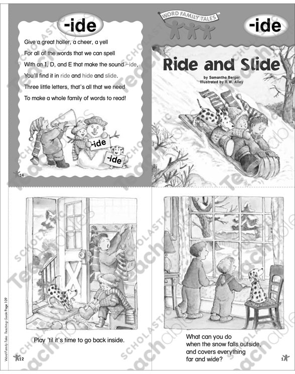 Ride and Slide (-ide) Word Family Tale Printable Mini-Books