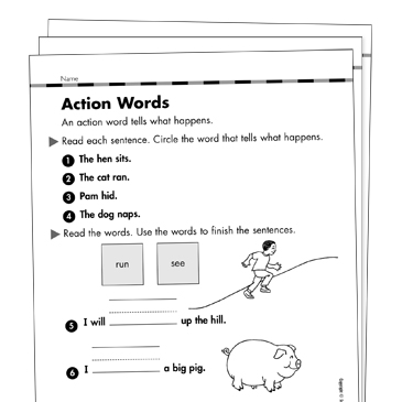 Action Verbs Grade 1 Collection Printable Leveled Learning Collections