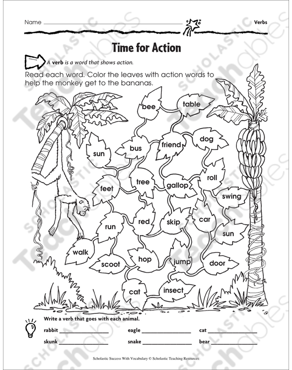 Action Verbs Grade 3 Collection Printable Leveled Learning Collections