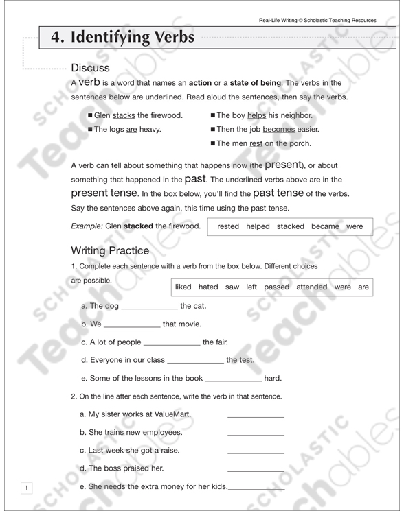 Action Verbs Grade 5 Collection Printable Leveled Learning Collections