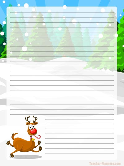 Reindeer Lined Digital Writing Paper - Letter Writing Paper for Kids