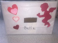 Valentine Card box with cupid and hearts