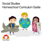 Social studies adn History curriculum guides with little children and a globe, airplane and book.