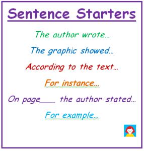 Evan-Moor Sentence Starters chart