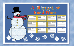 Snow man bulletin board with snowflakes