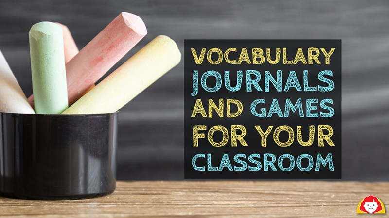 Chalkboard with Vocabulary Words and Games