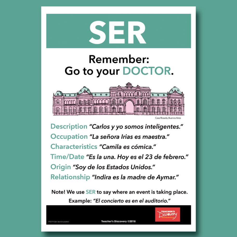 Poster In Spanish Ser And Estar Mnemonic Spanish Mini Poster Set Of 2