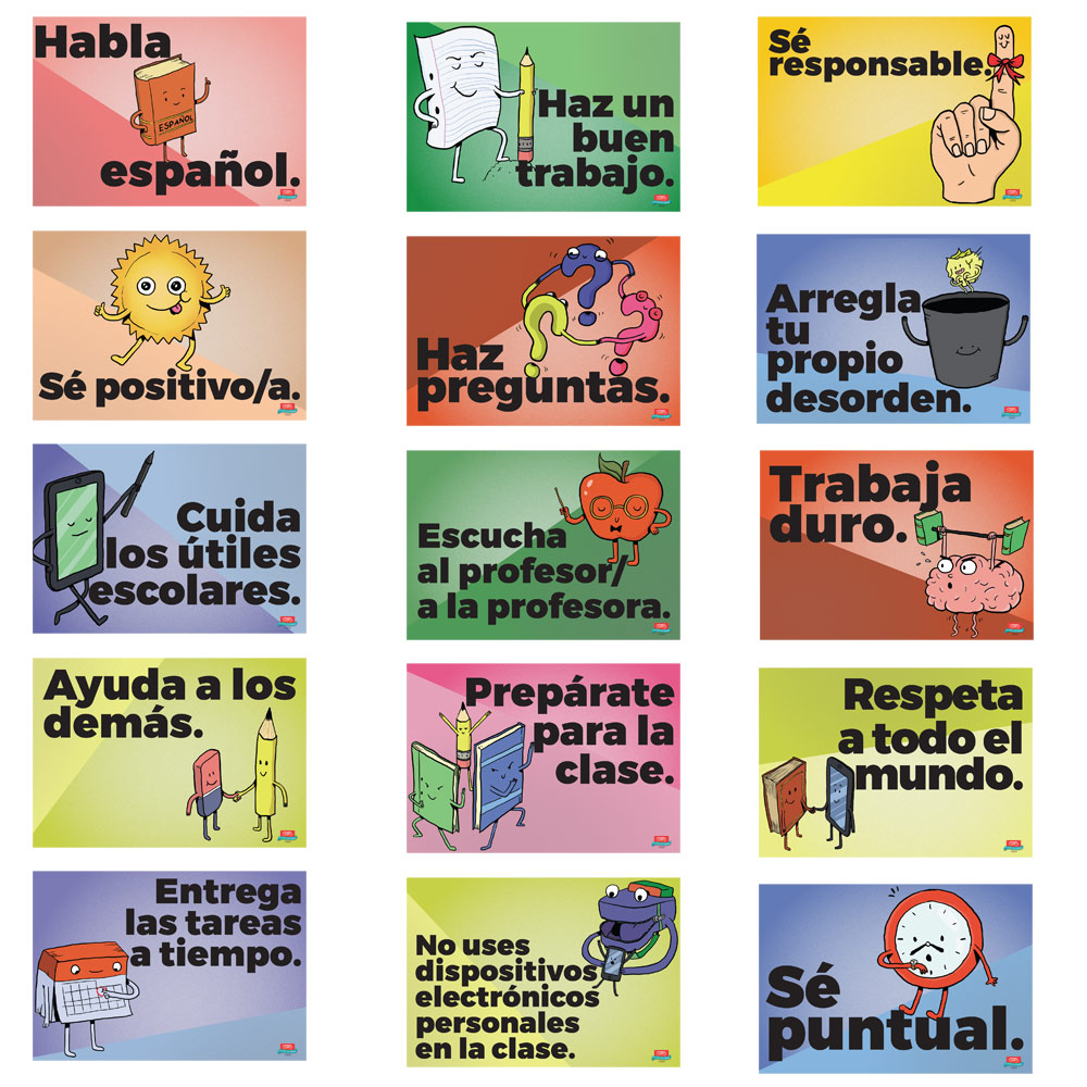 Poster In Spanish Common Sense Rules Spanish Mini Poster Set