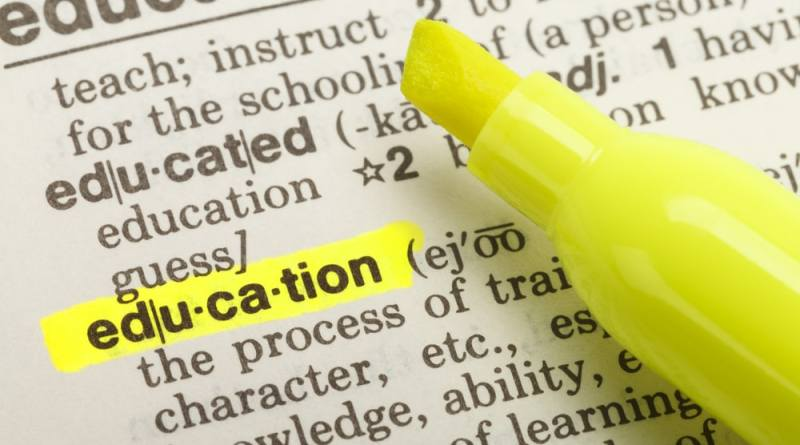 shutterstock_176597516 The Word Education Highlighted in Dictionary with Yellow Marker Highlighter Pen.