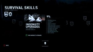 Tomb Raider Skills Menu