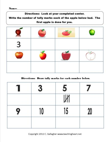Numbered Apples Worksheet