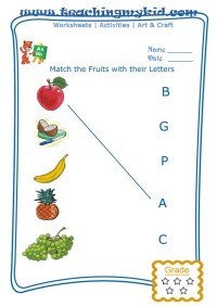 preschool printable worksheets - Match fruits with first ...