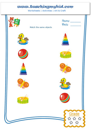 Free printable preschool worksheets - Match same Objects-2