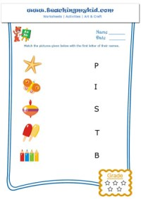 Kids worksheets - Match the objects with first letter of ...