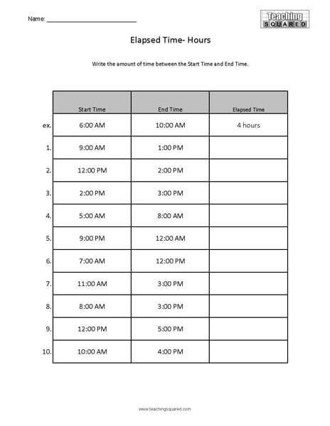 Elapsed Time Worksheets - Teaching Squared - time worksheets