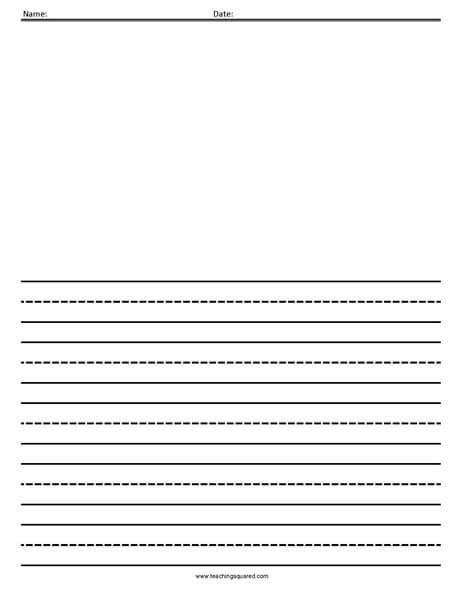 Dotted Lined Paper- Wide Line with Picture - Teaching Squared