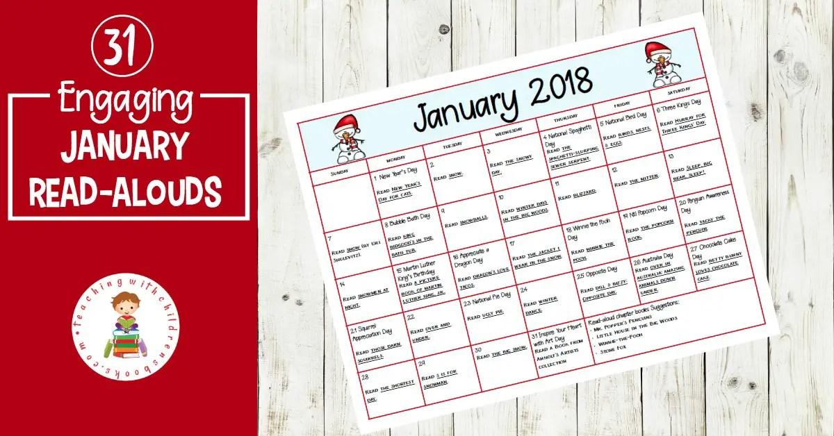 January Read Aloud Picture Books Calendar
