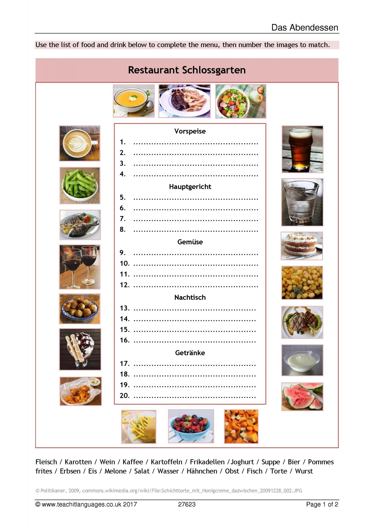 4 Bilder 1 Wort Kuchen Pommes Salat German Language Teaching Resources Teachit Languages