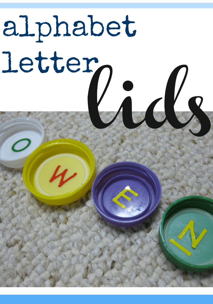 alphabet letter lids | use recyclables for ABC learning