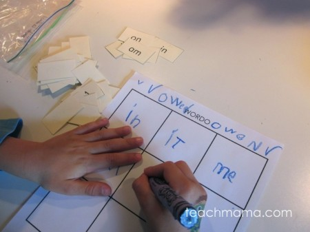 a game for practicing spelling, sight words, or letters: WORDO!