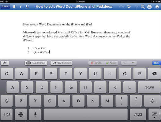 How to edit Microsoft Word, Excel, and Powerpoint Documents on the iPad (Mini), iPhone, and iPod Touch