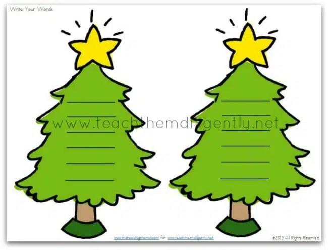 Christmas Tree Word Family Sorts - christmas tree words