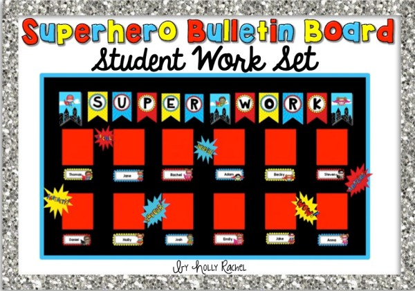 Superhero bulletin board display set student work