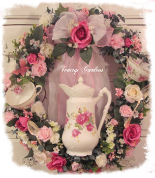 Handmade Custom Teacup Wreath Shabby Chic Handcrafted Wreaths, Books and Gifts