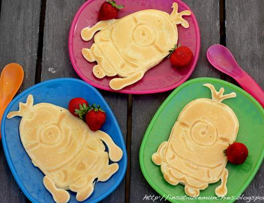 Pancakes shaped like the minions from Despicable Me