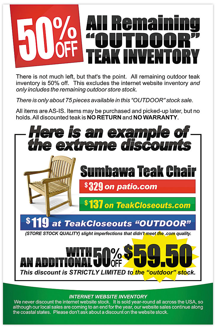 Lexington Kentucky Discounted Teak Outdoor Inventory