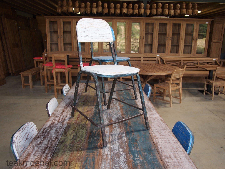 Esstisch Quadratisch 120x120 Teak Tisch Shabby Chic 43 8 Stühle
