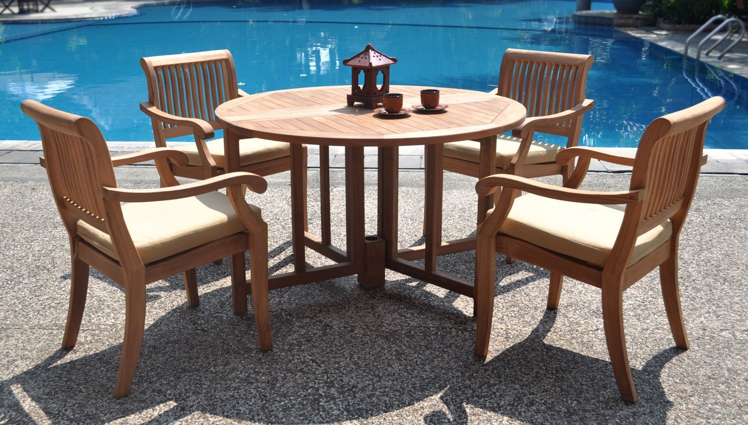 Round Table Patio Furniture Sets 5 Piece Luxurious Grade A Teak Dining Set 48
