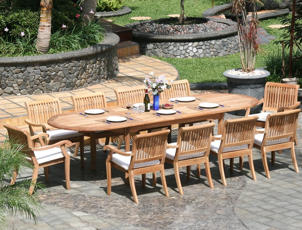 Round Table Patio Furniture Sets 5 Piece Luxurious Grade A Teak Dining Set 48 Inch Round Table