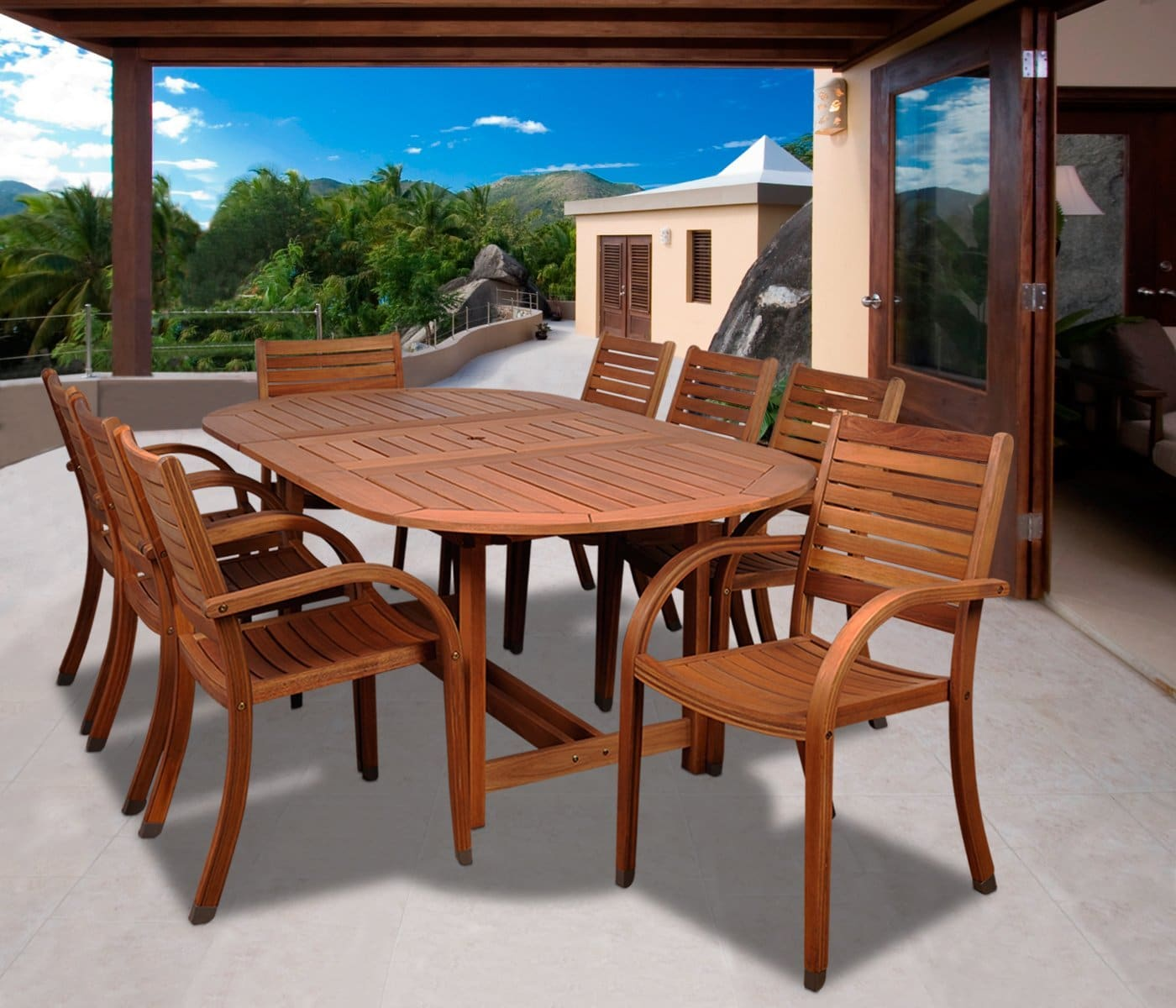 Round Table Patio Furniture Sets Best Eucalyptus Outdoor Furniture Patio Sets 2019 Buying Guide