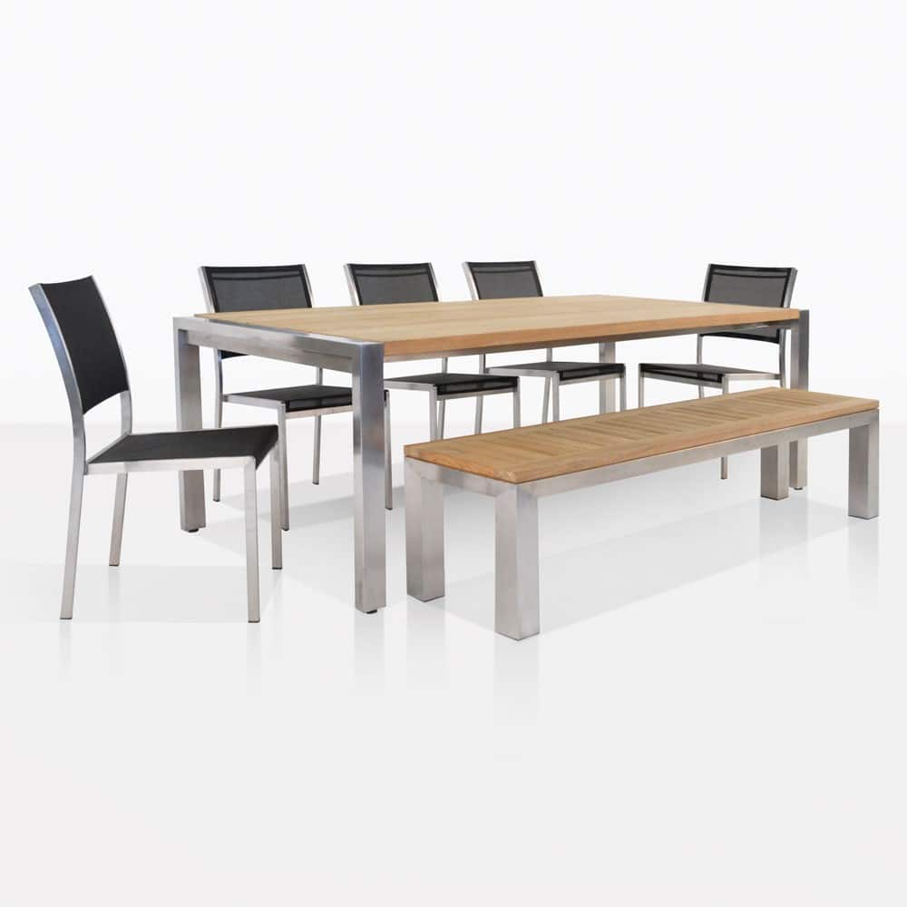 Teak Wandplank Outdoor Dining Set Stainless And Teak Plank Table And Bench With 5 Batyline Chairs