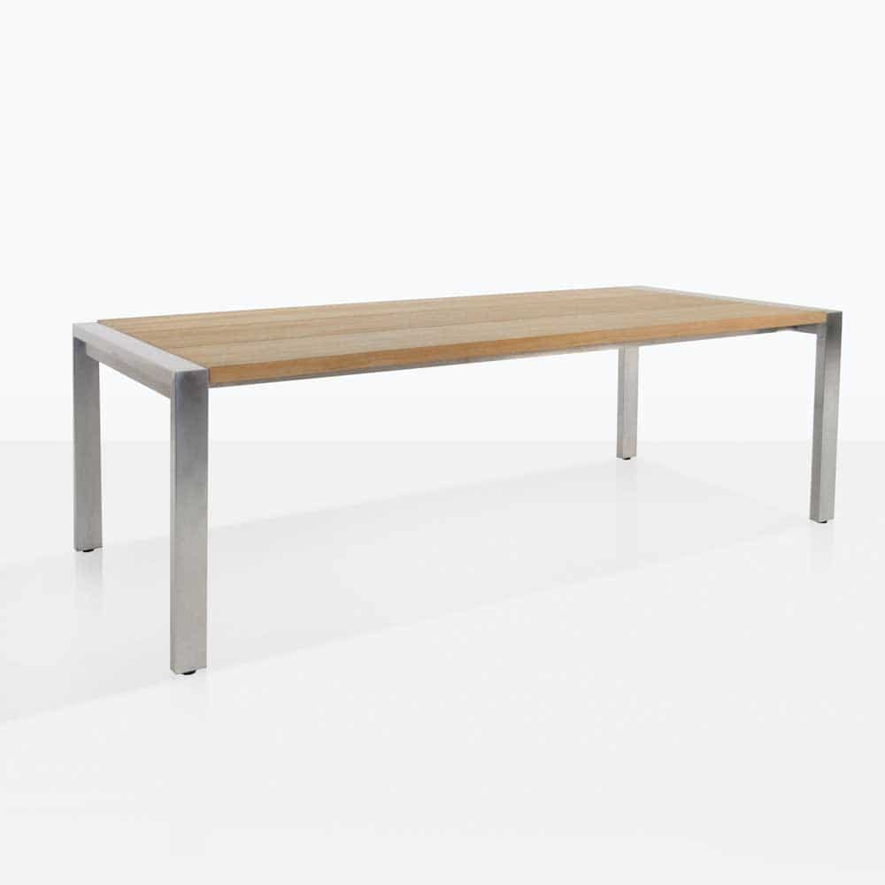 Teak Wandplank Stainless Steel And Teak Plank Dining Table