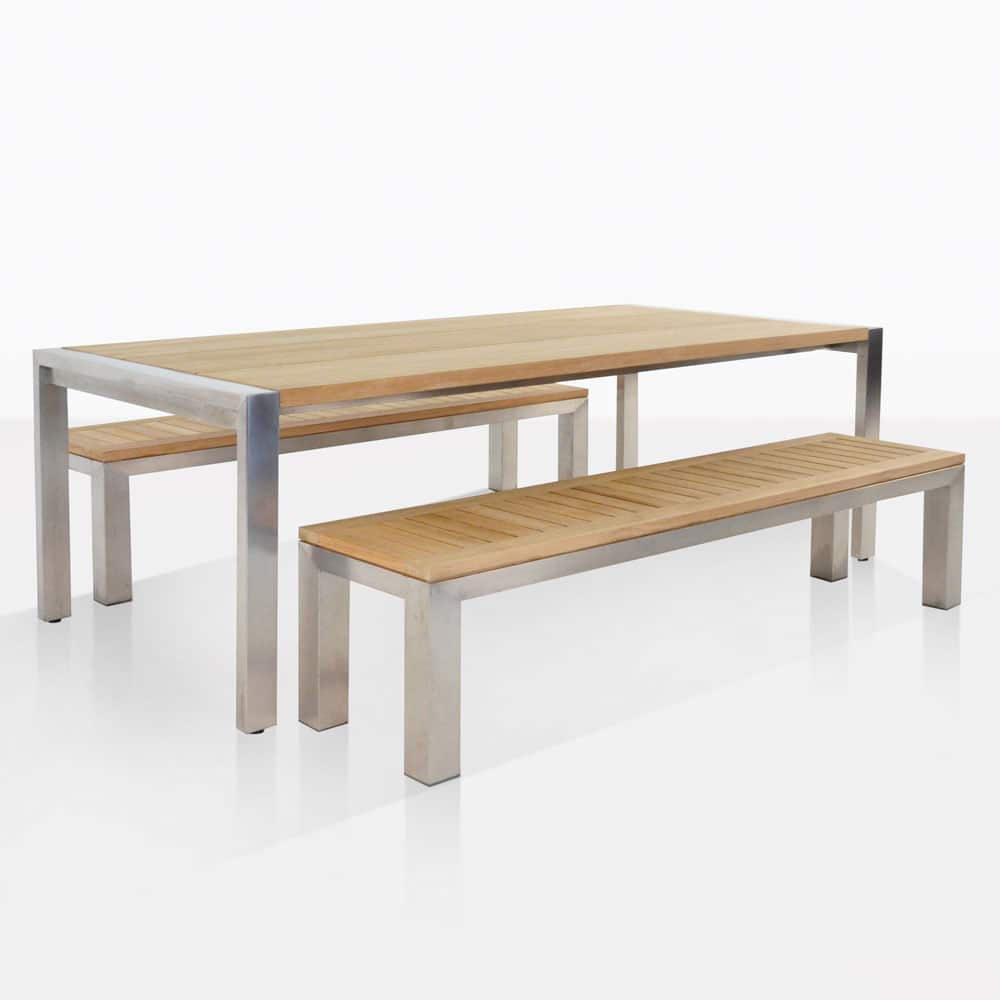 Teak Wandplank Outdoor Dining Set Stainless Steel And Teak Plank Table And Benches