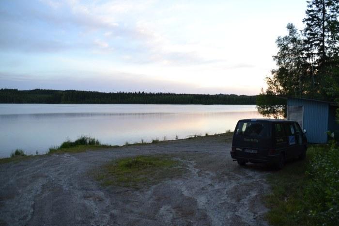 Wild campen am See bei Lieksa.
