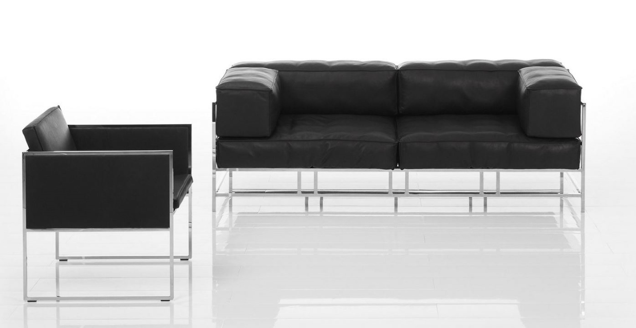 Sessel Couch Easypieces Frontal Couch Gestell Glänzend Sessel Grace Leder