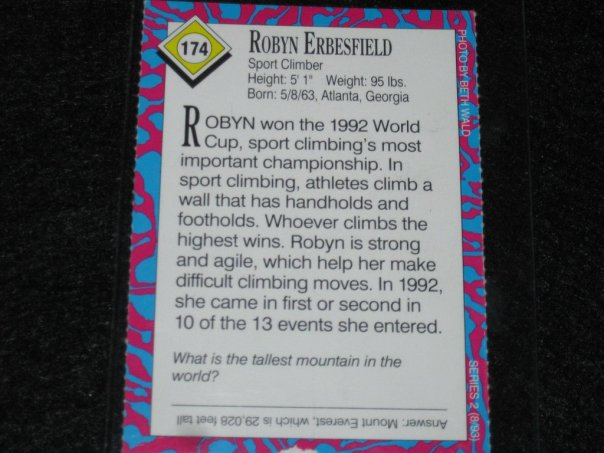 Robyn Erbesfield Trading Card Climbing