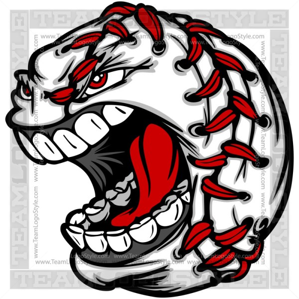 Baseball Graphic - Screaming Baseball Face Clipart Image