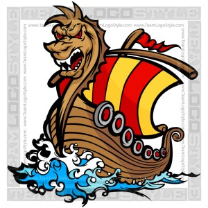Viking Ship Clipart - Cartoon Vector Image